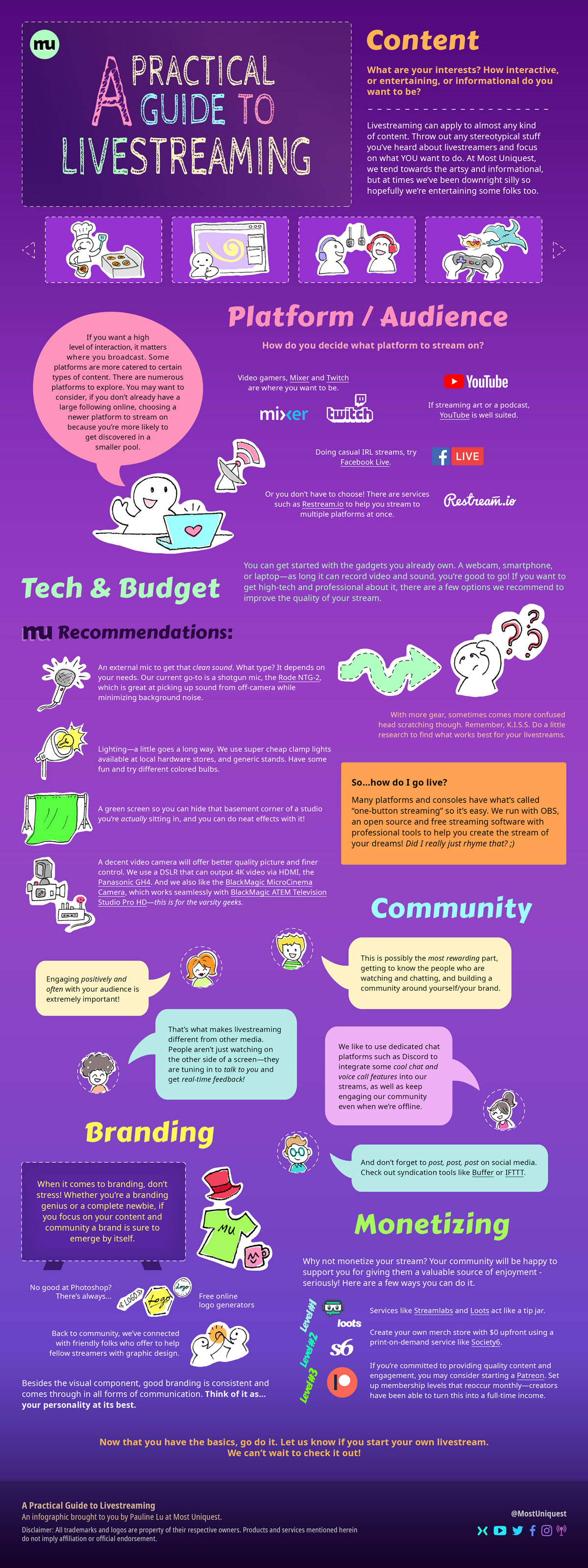Most Uniquest - A Practical Guide to Livestreaming Infographic